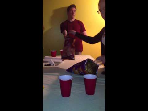 Fail beer pong trick shot