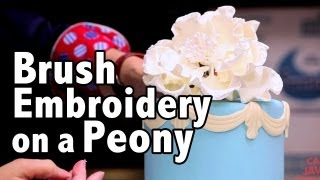 How to do Brush Embroidery on a Gum Paste Flower | Cake Tutorials