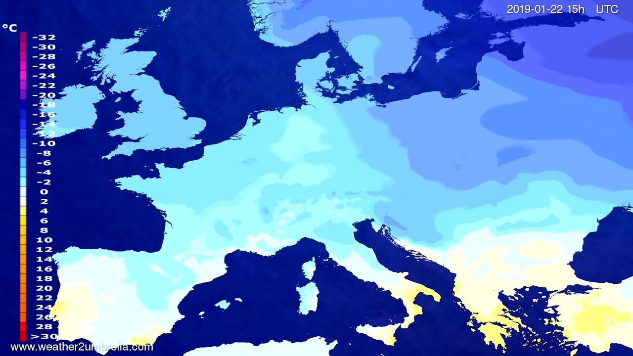 Temperature forecast Europe 2019-01-19