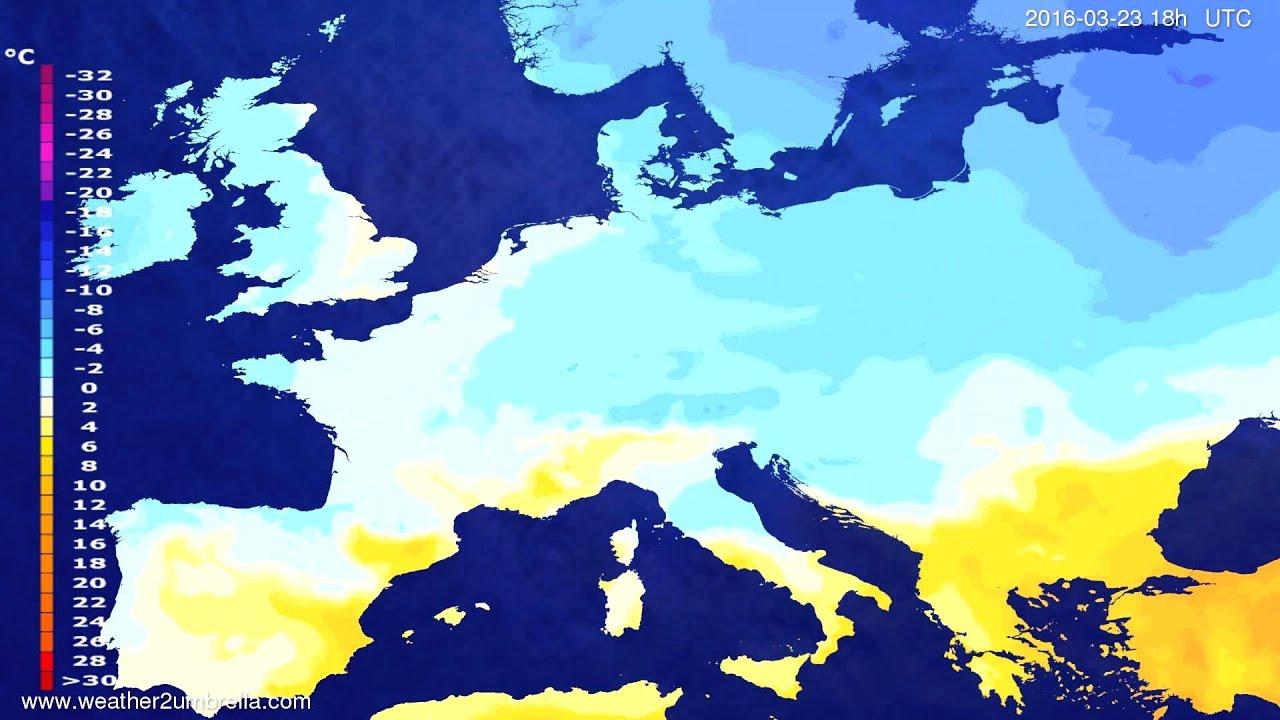 Temperature forecast Europe 2016-03-20