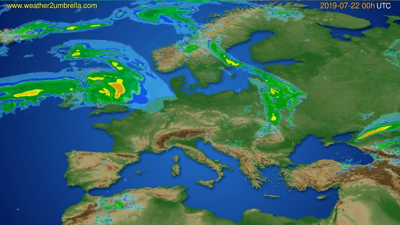 Radar forecast Europe // modelrun: 12h UTC 2019-07-21