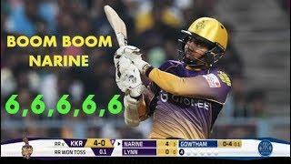Boom Boom Sunil Narine Blasting Boundaries In CPL 2017 - 5 Sixes -  TKR VS BT 2017
