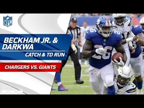 Video: Beckham's Bobbling Catch & Darkwa Explodes for TD Run! | Chargers vs. Giants | NFL Wk 5