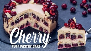 Cherry Puff Pastry Cake with Caramelized White Chocolate Frosting