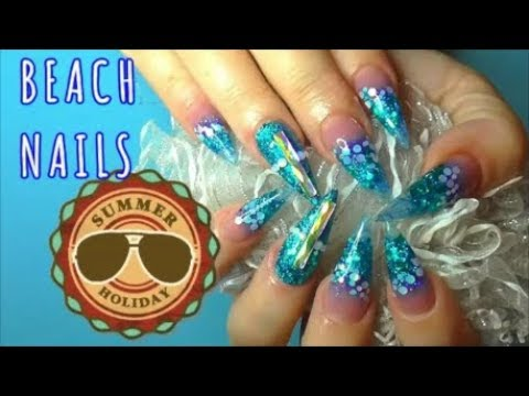 THE BEACH ~ SUMMER HOLIDAY + TRIBUTE NAILS ~ ACRYLIC NAILS USING NON DOMINANT HAND!  ABSOLUTE NAILS