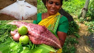 7 KG Stingray Fish Piece Cooking & Tasting In My Village - Grandmas Very Rare Fish Recipe Please Share & Subscribe For More ...