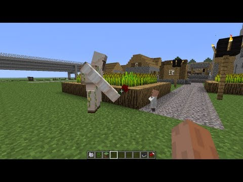 Minecraft Iron Golem Gives A Flower To a Baby Villager
