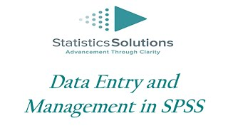 Data Entry And Management In SPSS