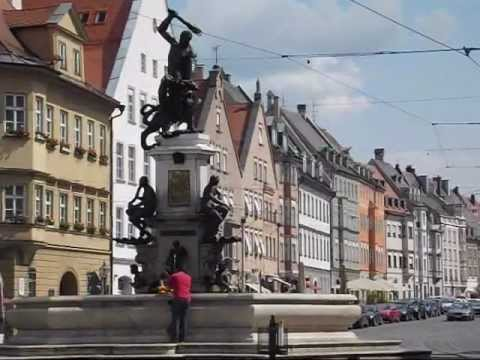 Augsburg - The main street of the old city in Augsburg is the Maximilianstrasse, where one can find serveral old fountains and historic buildings. At one end of the str...