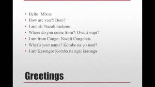 lingala language lesson 1. Upcoming DVD.