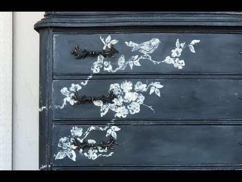 "IOD Chalkboard Dresser With ""Birds, Blossoms And Branches""."