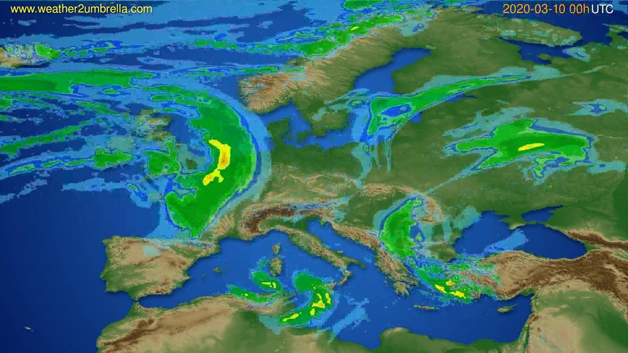 Radar forecast Europe // modelrun: 12h UTC 2020-03-09
