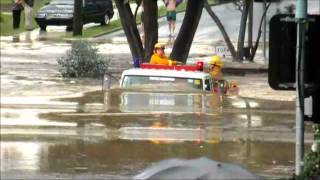 This Looks Crazy: Fire Truck Driving Through Flood