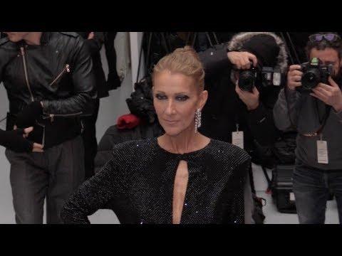 Celine Dion and boyfriend Pepe Munoz front row of the 2019 Alexandre Vauthier Haute Cou… видео
