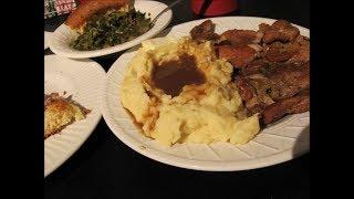 Country Smothered Pork chops n gravy, collard greens, cornbread, mashed potatoes by Louisiana Cajun Recipes