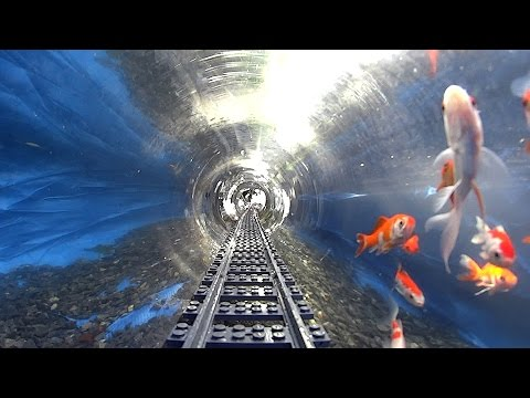 POV Footage of a LEGO Train  s Journey Through an Underwater Tunnel With Fish and Into the Back