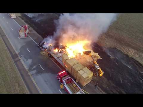 Semi Full Of Hay On Fire I-70 Mile 242 Ks Drone