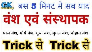 GK Trick | प्रमुख वंश एवं संस्थापक | Founder of famous dynasties | Indian history