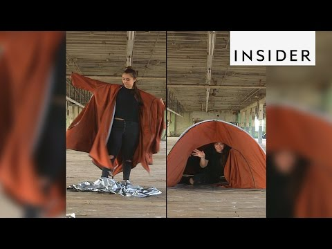 A Jacket That Converts Into a Tent to Provide Temporary Shelter for