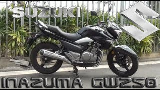 2. Suzuki Inazuma GW250 GSR250 Motorcycle Review, Shifting Indicator & Aftermarket Parts Crashbar Grab