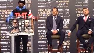 Floyd Mayweather kicked off the explosive MayMac World Tour by going old school and cussing out Conor McGregor by calling him a b***
