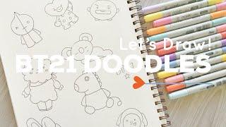 Let's Draw : BT21 Doodles (BTS X LINE FRIENDS) | Doodle with Me