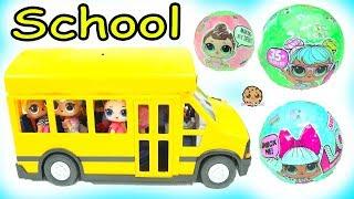 Video LOL Surprise Ride Bus + Go To School -  Lil Sisters Baby Dolls Blind Bag MP3, 3GP, MP4, WEBM, AVI, FLV November 2018