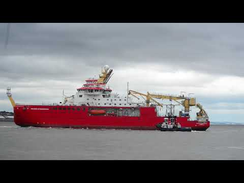 RSS Sir David Attenborough shifts berth at Cammell Lairds, Birkenhead. 4th & 5th August 2020.
