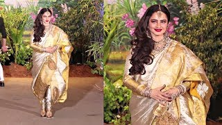 Video Rekha Looks Beautiful In Pant -Saree At Sonam Kapoor Wedding Reception MP3, 3GP, MP4, WEBM, AVI, FLV Mei 2018