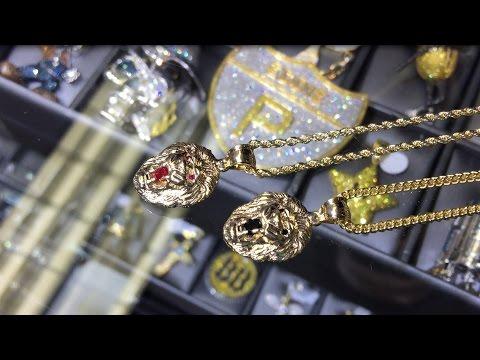Lionhead Pendants with Ruby and Black Diamonds