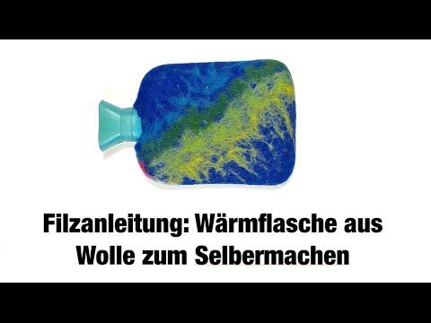 Geschenkidee zum selber machen: Filzanleitung Wärmflasche mit weicher Filzwolle umwickelt