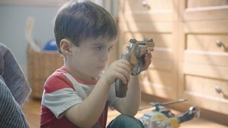 Playtime is over. #NotAToyUnintentional shootings can be and should be prevented. Take the pledge for safe storage at http://supgv.org/SaferKidsCredits:Director/ Editor - Cameron Noble athttp://www.cmnoble.comActor - Simon Shohet (father) athttp://sesler.com/cinematographers/simon-shohet/DP/ Producer - Jack Yan Chen athttp://jackyanchen.comMakeup Artist - Moira Garr athttp://mgmua.caArt Director - James Gagné atjwallacegagne@gmail.comSound Design - Umber Hamid ofhttp://boomboxsound.comFoley - Andy Malcolm ofhttp://footstepsfoley.comColourist -Jason Providence ofhttp://ontariocamera.comCamera Equipment - Ontario Camerahttp://ontariocamera.com