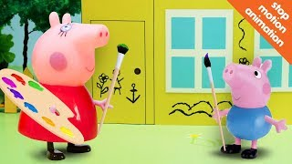 Свинка Пеппа и Джорж разрисовали свой дом. Мультик из игрушек Свинка Пеппа (Peppa Pig).[720p]
