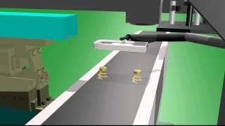 Vibratory bowls robot arms transfer belt system