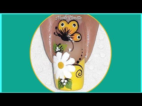 Diseños de uñas - Diseño de uñas flor y mariposa