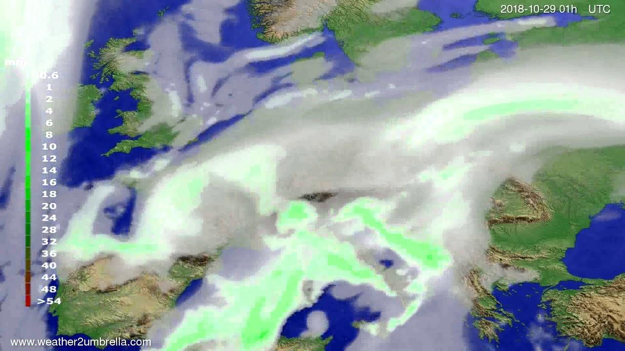 Precipitation forecast Europe 2018-10-26