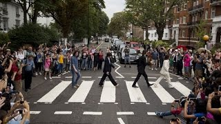 Beatles' Abbey Road crossing packed for 45th anniversary