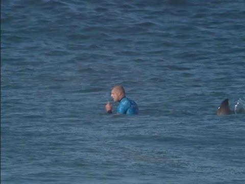 un surfista combatte contro uno squalo in acqua!