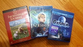 A three movie unboxing video which includes The Incredible Journey (DVD), The Pagemaster (Blu-Ray), and Casper (Blu-Ray).