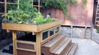 Aquaponics Two-tiered Back Yard Gardening And Varmint-proof Fish Farming System Of Wood.