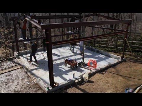 High view Erecting my Allied Steel Garage frame