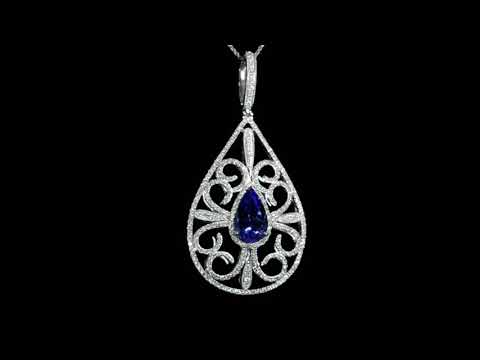 Lady's 18k White Gold 4.65ct Tanzanite and Diamond Pendant Necklace