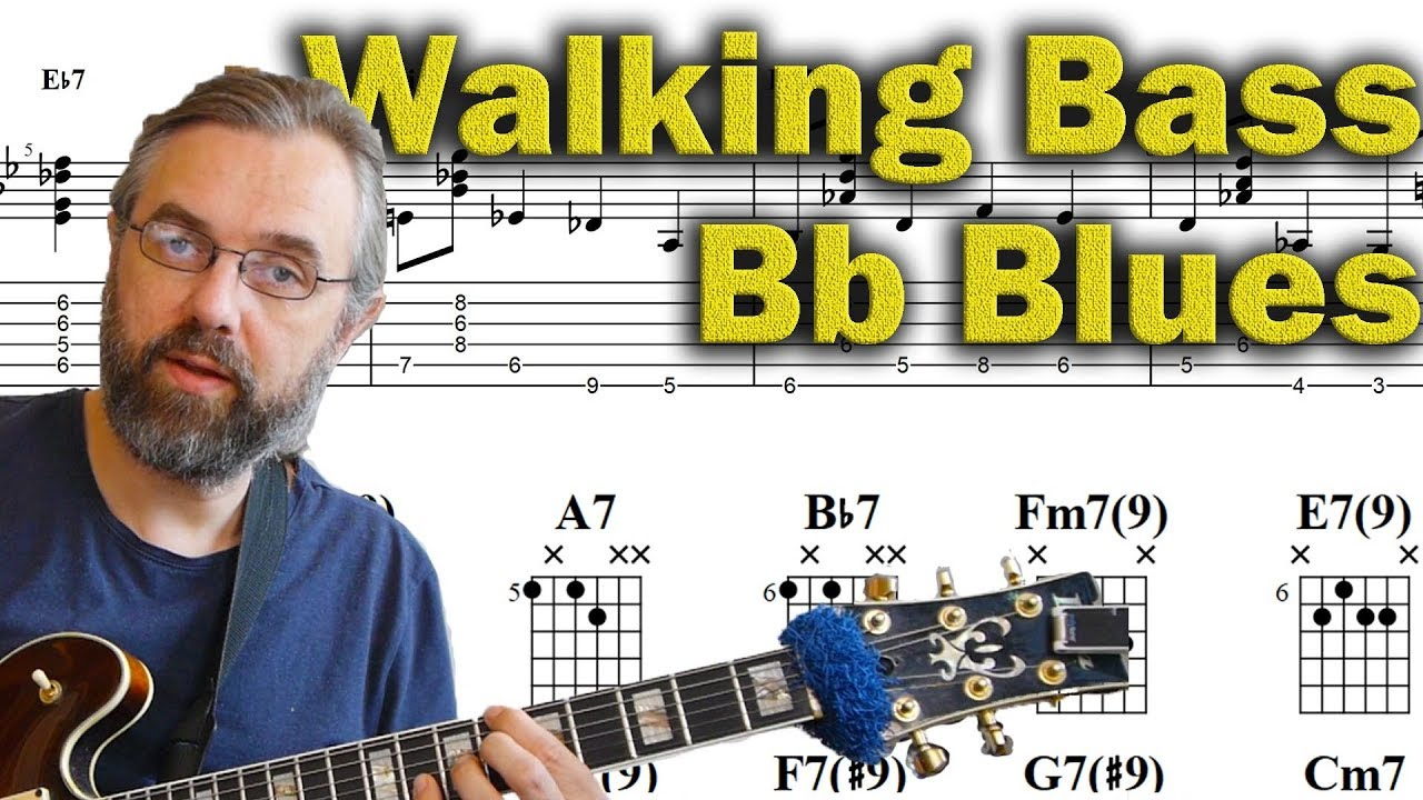 Walking Bass and Chords – Bb Blues – Jazz Guitar Lesson
