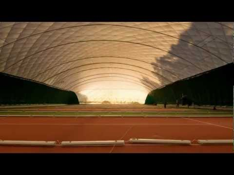 Construction of covered tennis hall in 3 minutes