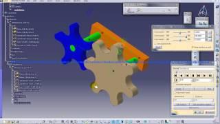 Catia V5 Digital Mockup DMU Kinematics Gear Train Mechanism Simulation Walkthrough
