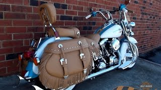 4. Fishtail Pipes on 2016 Heritage Softail Classic Harley Tan Seats Tan Saddlebags (704) 847-4647
