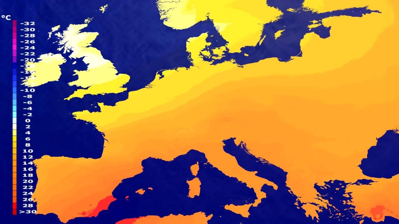 Temperature forecast Europe 2016-07-28