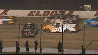 NASCAR Camping World Truck Series 2017. Eldora Dirt Derby. Christopher Bell &  Kaz Grala Crash