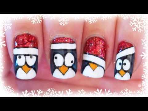 nail art natalizia - simpatici pinguini