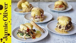Happy Father's Day!  Win over your dad with this incredible Eggs Benedict recipe finished 5 different ways.  Choose from ham, smoked salmon, crabmeat, mushroom and spinach or burnt ends.  All delicious, all will set your old man up for the day and all will be sure to get you massive brownie points.If you want a break from the cooking why not treat your dad to a meal at Barbecoa http://www.barbecoa.com/ or buy him a subscription to Jamie Magazine -  full of recipes and fantastic offers every month http://www.jamieoliver.com/magazineLinks from the video:Eggs 5 ways  http://jamieol.com/5thingswitheggsBBQ Tips  http://www.jamieol.com/BBQtipsBarbecoa  http://jamieol.com/NewBarbecoaPiccadillyFor more information on any Jamie Oliver products featured on the channel click here: http://www.jamieoliver.com/shop/homeware/For more nutrition info, click here: http://jamieol.com/NutritionSubscribe to Food Tube  http://jamieol.com/FoodTubeSubscribe to Drinks Tube  http://jamieol.com/DrinksTubeSubscribe to Family Food Tube  http://jamieol.com/FamilyFoodTubeTwitter  http://jamieol.com/FTTwitterInstagram http://jamieol.com/FTInstagramFacebook  http://jamieol.com/FTFacebookMore great recipes  http://www.jamieoliver.comJamie's Recipes App  http://jamieol.com/JamieApp#FOODTUBEx